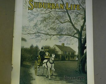 Antique Magazine Cover 1905 Suburban Life Magazine Horse and Buggy Victorian Lady