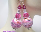 Abstract Sparkling Pink and Fuchsia Sugared Lampwork Earrings. Pink and Fuchsia Sugared Earrings