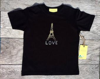 Effiel Tower - Paris France - Gold Shimmer - Kids - Children - Toddler T-Shirt