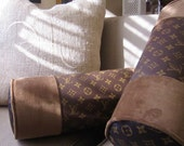 """LOUIS VUITTON Style Lumbar Pillow 16 x 6"""" Velvet Only Available Here. FAB!"""