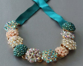 Tealicious Sparkles Statement Necklace made from Vintage Rhinestone Jewelry