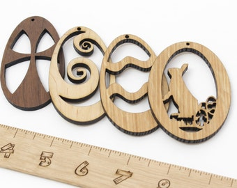 Wooden Easter Ornaments - Set of Four- Variety of Natural Hardwoods -Timber Green Woods. Ribbons included. Made in the USA!