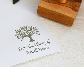Custom Olive Tree Design Bookplate Olive Wood Stamp