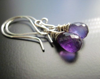 Amethyst Earrings, Faceted Teardrop Briolette, Gemstone Drops, Sterling Silver