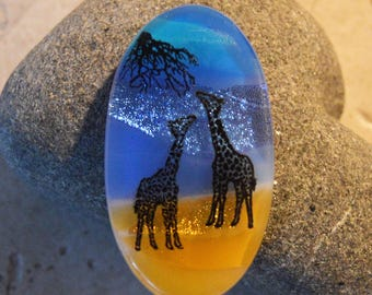 Fused Dichroic Glass Cabochon..GIRAFFES...Glass Cab for Jewelry Designers