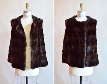 Vintage 1950s chocolate MINK fur vest
