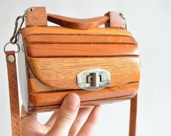 Vintage 1960s mini WOOD shoulder bag