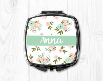 Mint Compact Mirror Floral Bridesmaid Gift Ideas Wedding Gift for Bridesmaid Wedding Gift Compact Mirror Personalized Bridesmaid Gift