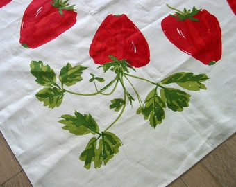 Vintage Vera Ladybug Tablecloth 50 x 52 inches Red Strawberries Never Used