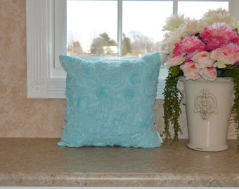 "Aqua Shabby Romantic Pillow Cover 18"" X 18"" Romantic Robin's Egg Blue Pillow Cover, Shabby Aqua, Cushion Cover, Aqua Ruffles Shabby Pillow"