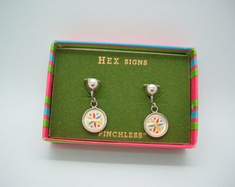 Hoffman Hex Signs Pennsylvania Dutch Pinchless Clip Style vintage earrings