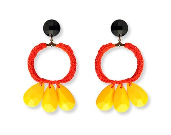 Colorful Hoop Summer Earrings for her, Statement jewelry red and yellow stud dangle earrings