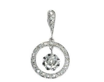 30% Off Winter Sale Wedding Diamond White Gold Pendant French Art Deco 18k white gold old European cut diamond rose cut diamonds France ca.1