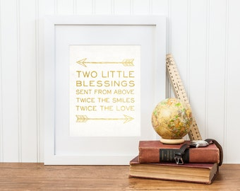 Twin Nursery Print - Two Little Blessings Sent From Above - Twin Nursery Decor - Printable Digital Download