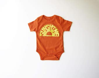 Sunshine | Organic Baby One Piece | Screen Printed Baby Clothing | Baby Bodysuit | Organic Baby Clothes | Infant One Piece | Baby Tee