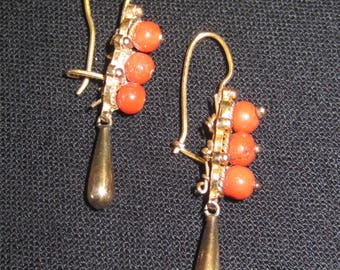 Antique Victorian 10K Gold Coral Dangle Earrings