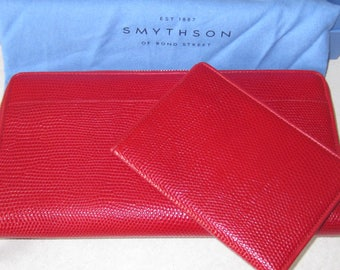 SMYTHSOM Panama Red Leather Travel Wallet and Passport Cover