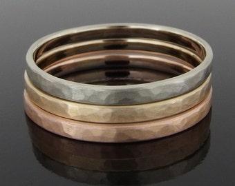 Hammered 14k Tricolor Gold Stack Ring Set, 14k Gold Ring Set, Gold Stacking Ring Set, Gold Stacking Band Set, 2 x 1 mm, Satin Finish