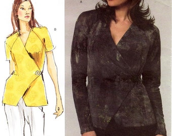 """All Sizes/Bust 32"""" to 55"""" - Vogue Pattern V1164 - Today's Fit by SANDRA BETZINA - Misses' Close-fitting Wrap Top in Two Variations"""