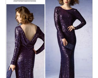 Pick Your Size - Vogue Dress Pattern V1374 by BADGLEY MISCHKA - Misses' Lined, Close Fitting Evening Dress with Back Drape Neckline