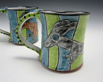 Large Coffee Mug Ceramic - Silver Dapple Dachshund Wiener Dog - Green Blue - Majolica Mug - 17 ounces oz - Pottery Mug - Pet Dog Mug - Cup