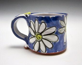 Petite Ceramic Coffee Mug - Small Pottery Coffee Mug -  Clay Mug - Tea Cup - White Daisy Flower - Majolica -  Cobalt Blue - 8 ounces oz mug