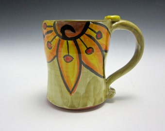 Medium Ceramic Coffee Mug - Pottery Mug - Valentine Gift for Her - Clay Tea Cup -Yellow Orange Sunflower - Majolica - Green - 14 ounces oz