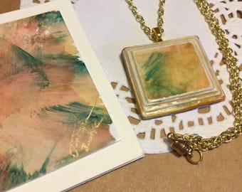 Hand Painted Necklace, HandPainted pendant, Painted pendant necklace, Painted necklace, Hand painted paper,Paper pendant