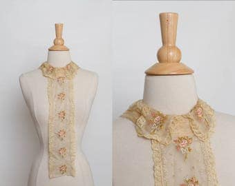 antique Edwardian embroidered lace collar dickey