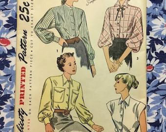 Simplicity 1728 UNCUT FF vintage pattern Blouse Size 18 Bust 36 copyright 1946 Excellent Condition!