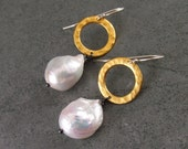Large baroque pearl earrings on mixed metal, handmade 22k gold vermeil, sterling silver circle earrings-OOAK