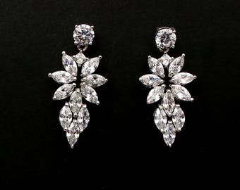 Wedding bridal earrings bridesmaid Jewelry prom pageant party marquise cluster clear cubic zirconia drop round post rhodium silver earrings