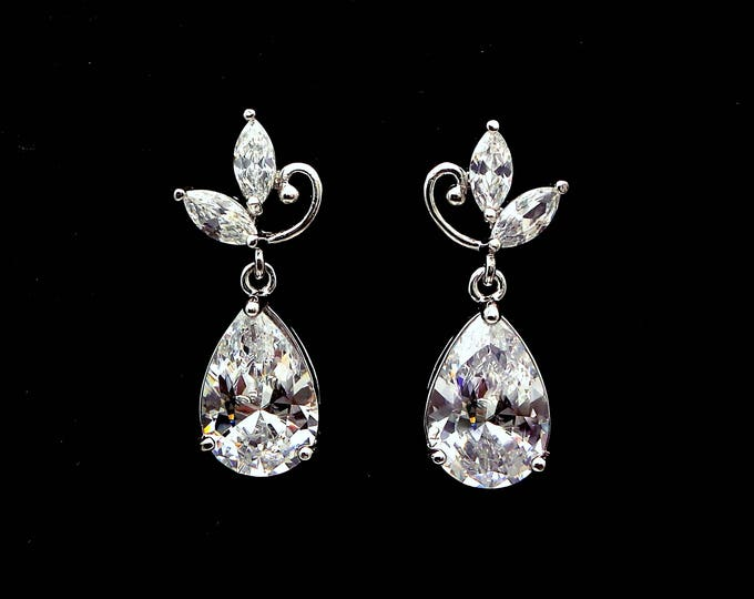 wedding bridal jewelry christmas prom party bridesmaid gift jewelry AAA clear white teardrop cubic zirconia marquise flower post earrings