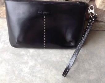 Vintage Nannini Wristlet Purse / Black Leather NANNINI Small Purse