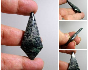 Forest Green Marble Hand Cut Gemstone Cabochon 35 mm