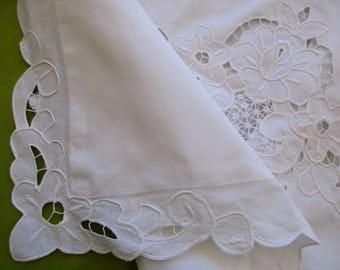 vintage white cotton PILLOW SHAM - standard, cutout flowers, lace