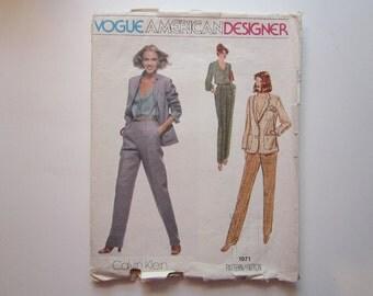 vintage Vogue pattern 1971 - Calvin Klein Vogue American Designer - jacket, blouse, pants - size 12 - vintage Vogue 1971 - factory folded