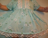 """14"""" 15"""" 16""""  American Made Girl Baby Doll Clothes Dotted Swiss Blue N Floral Print Doll Dress with panties Fits 14 15 16 inch Baby Dolls"""