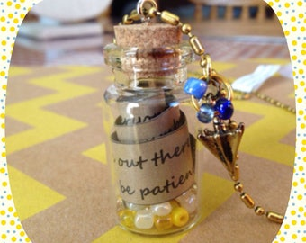 How I Met Your Mother (HIMYM) Quote Bottle Necklace with Umbrella Charm (Yellow Umbrella)