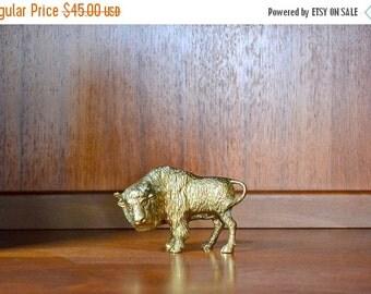 SALE 25% OFF vintage brass buffalo figurine