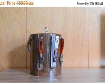 SALE 20% OFF vintage georges briard ice bucket with bar tools / new years eve / vintage bar set