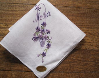 "Vintage Mother's Day Embroidered ""MOTHER"" Hankie New Old Stock Floral Flowers Mother of the Bride Wedding Hanky Bridal."