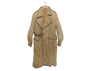 Vintage WWII British Despatch Riders Coat Tan Canvas Weathered Long Motorcycle Jacket (os-m-5)