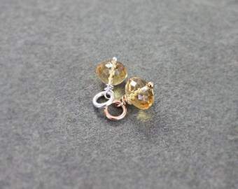 Small Citrine Charm, Sterling Silver or 14k Gold Filled Wire Wrapped Gemstone Bead Pendant - Add a Dangle