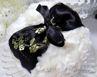 Black and Cream Powder Puff | black and gold satin floral brocade pouf | gift box option | handmade by Bonny Bubbles