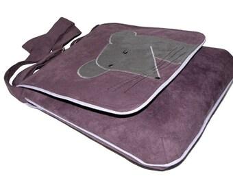 Mouse Themed Crossbody Bag, Author Bag with Flap, OOAK Messenger Bag, Eco Suede Vegan Bag, Flap Cover Bag, Adjustable Strap, Bag For Cyclist