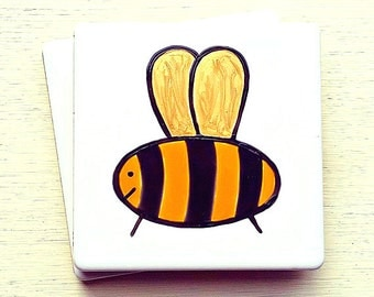 Bee Coaster, Ceramic Coaster, Personalised, Placemats, Men's Gift, Children's Gift, Gift for Mum