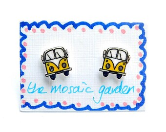 Campervan Earrings Yellow, Combi Studs, Shrink Plastic, Gift for Her, For Mum, Jewellery, Mother's Day