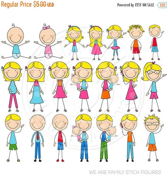 ON SALE BLONDE We Are Family Stick Figures Cute Digital Clip Art - Commercial Use Ok - Stick Figure Family Graphics