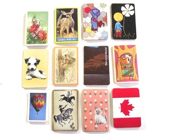 60 Random Playing Cards, Mixed Lot of Vintage Cards, 5 Card Each from 12 Different Decks, Swap, Scrapbooking
